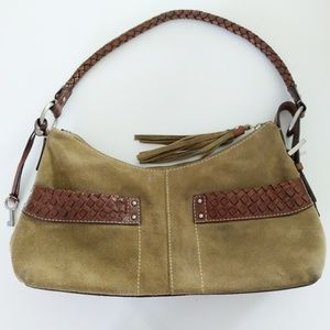 Fossil Suede and Leather Shoulder Bag